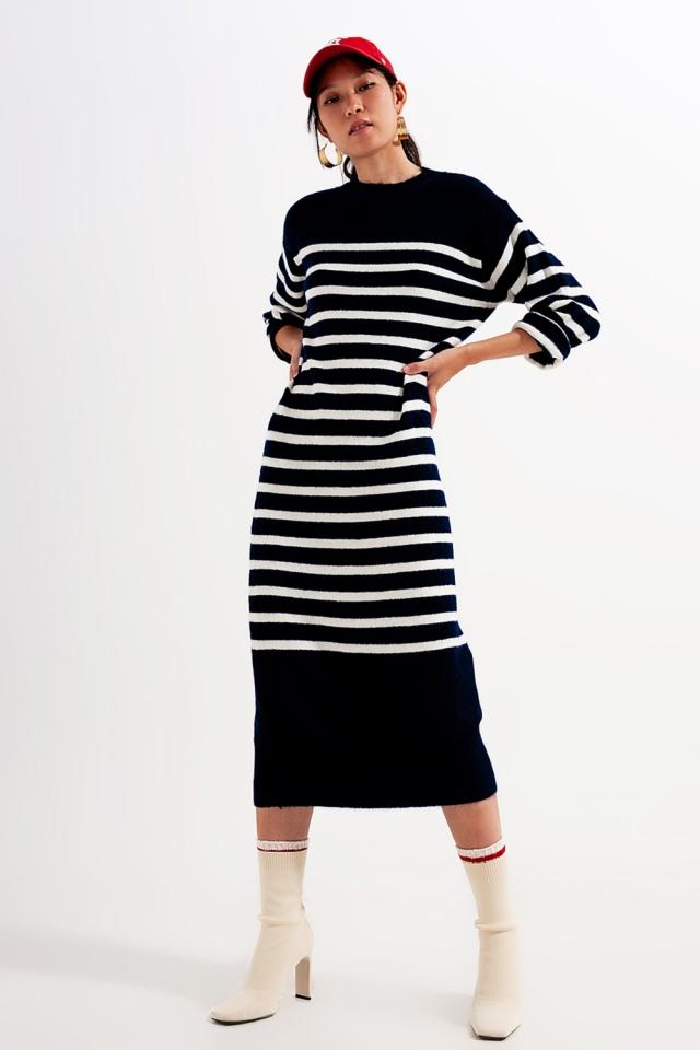 Lockeres Midi T Shir Kleid mit Bretonstreifen