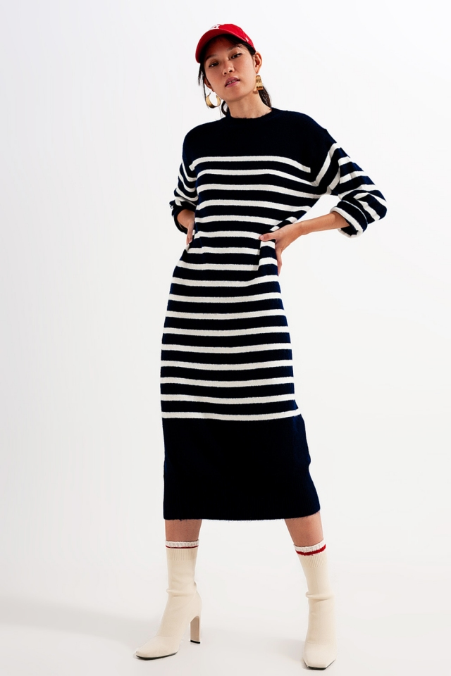 Relaxed midi T shirt dress in breton stripe