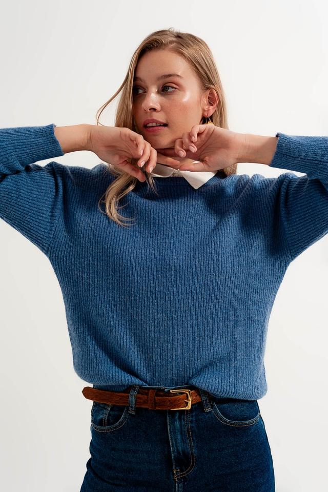 Pullover mit Rundhalsausschnitt in blau