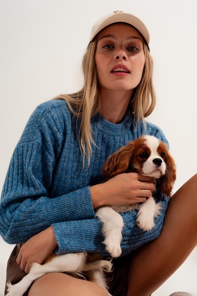 Kastiger Pullover in Blau mit grobmaschigem Strickdesign