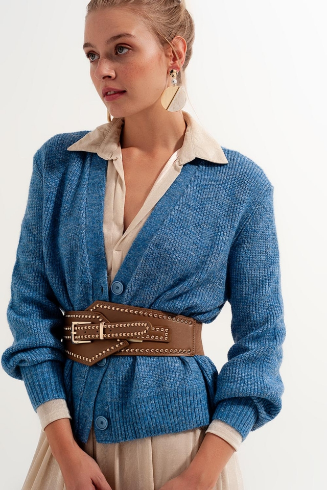 Button Through Cardigan in Blue
