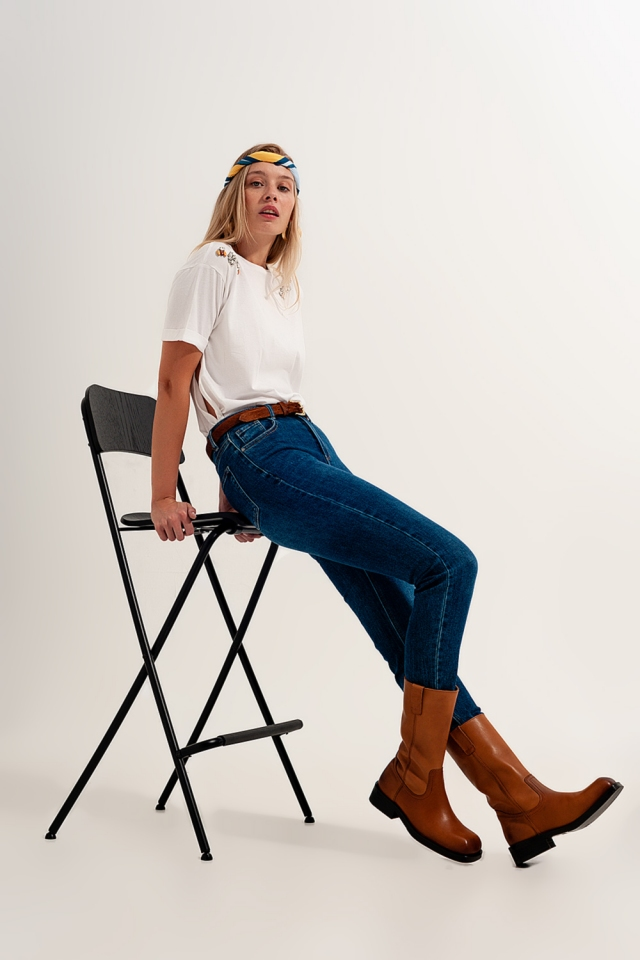 high waisted super skinny jeans in dark blue with high quality elastic
