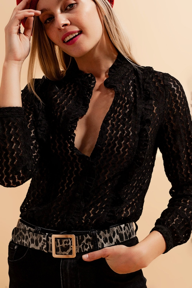 Tall button up broderie blouse in black
