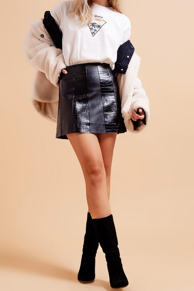 Leather look croc mini skirt in black
