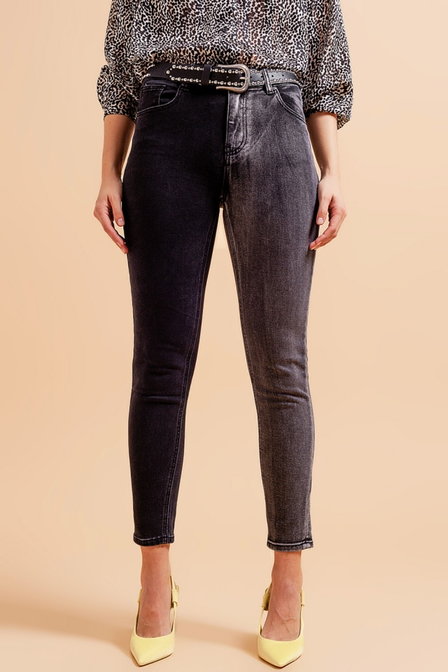 Jeans in color block grey and black