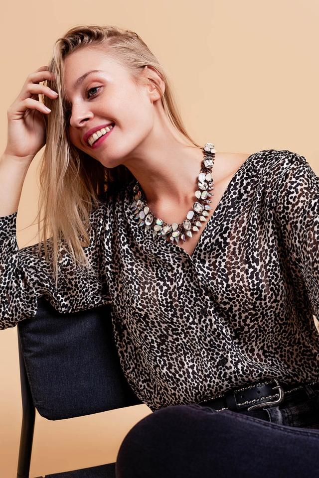 Shirt with blouson sleeves in sheer animal print black
