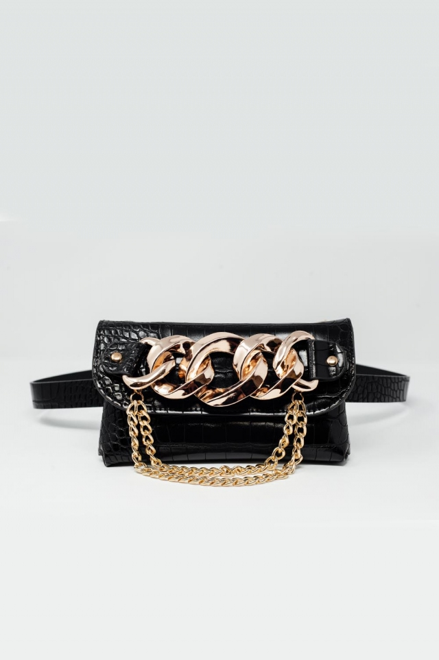 Bumbag belt with gold chain trim in black