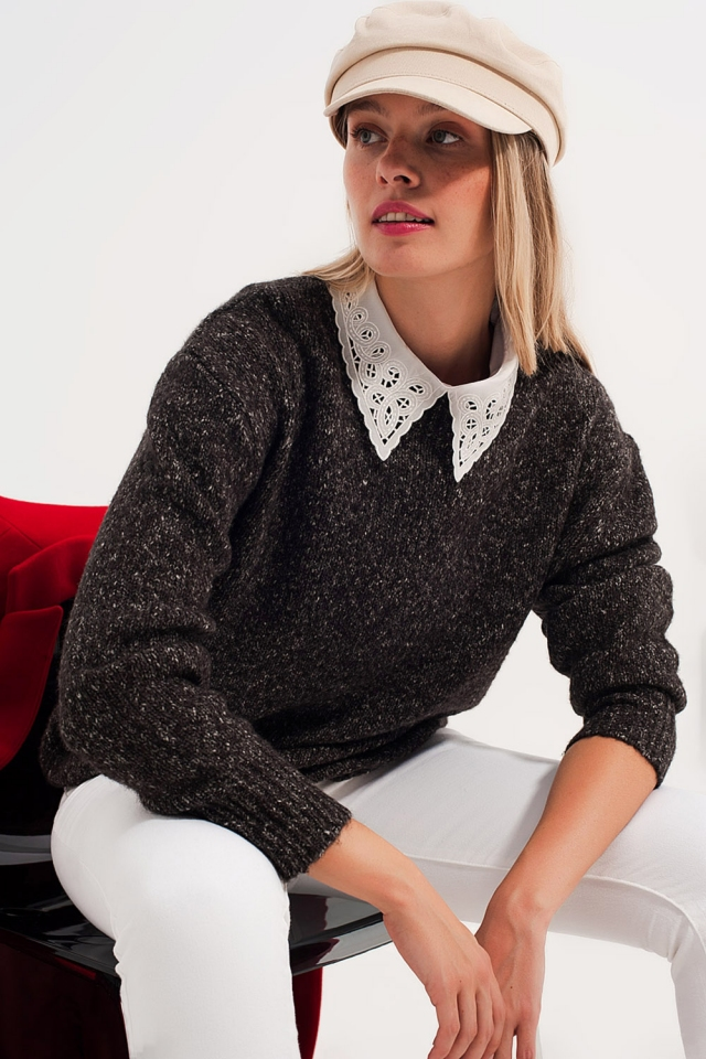 Black sweater with round collar
