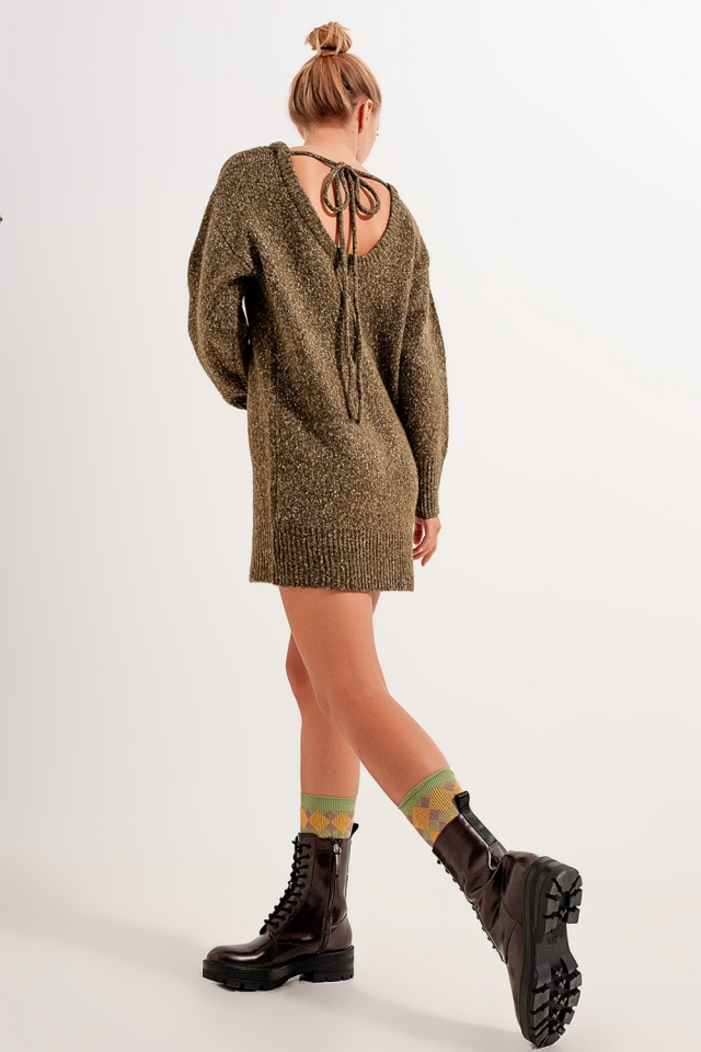 Textured sweater dress in green