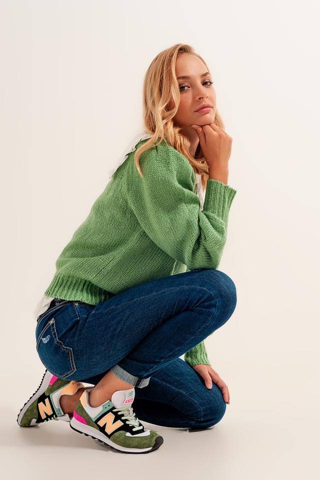 Skinny Jeans in Mittelblau mit Umschlagsaum