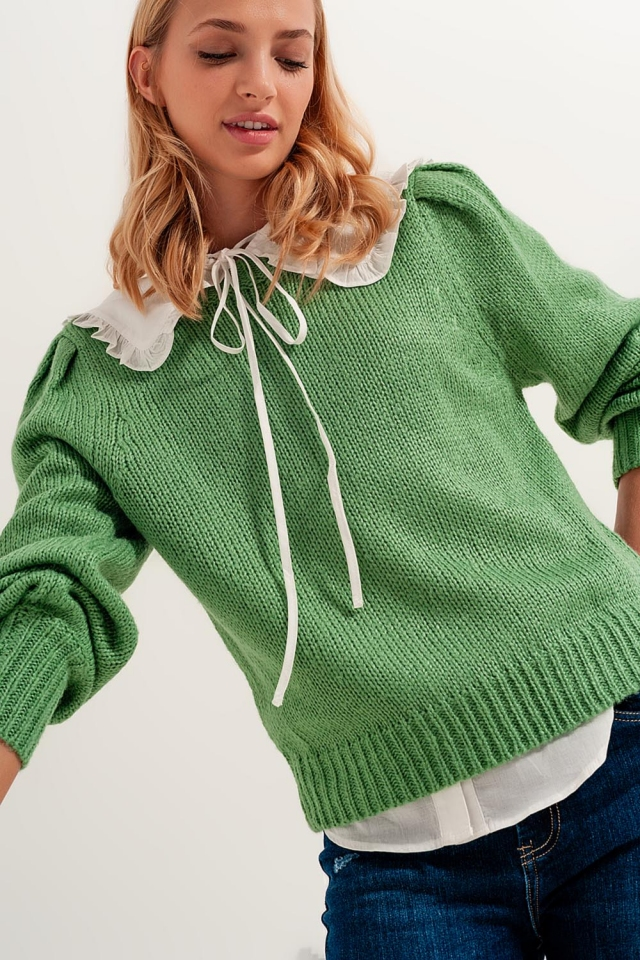 Pleat sleeve cropped sweater in green