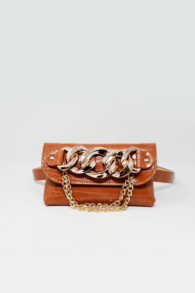 Bumbag belt with gold chain trim in brown