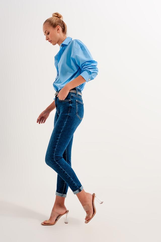 High rise skinny jeans in darkwash