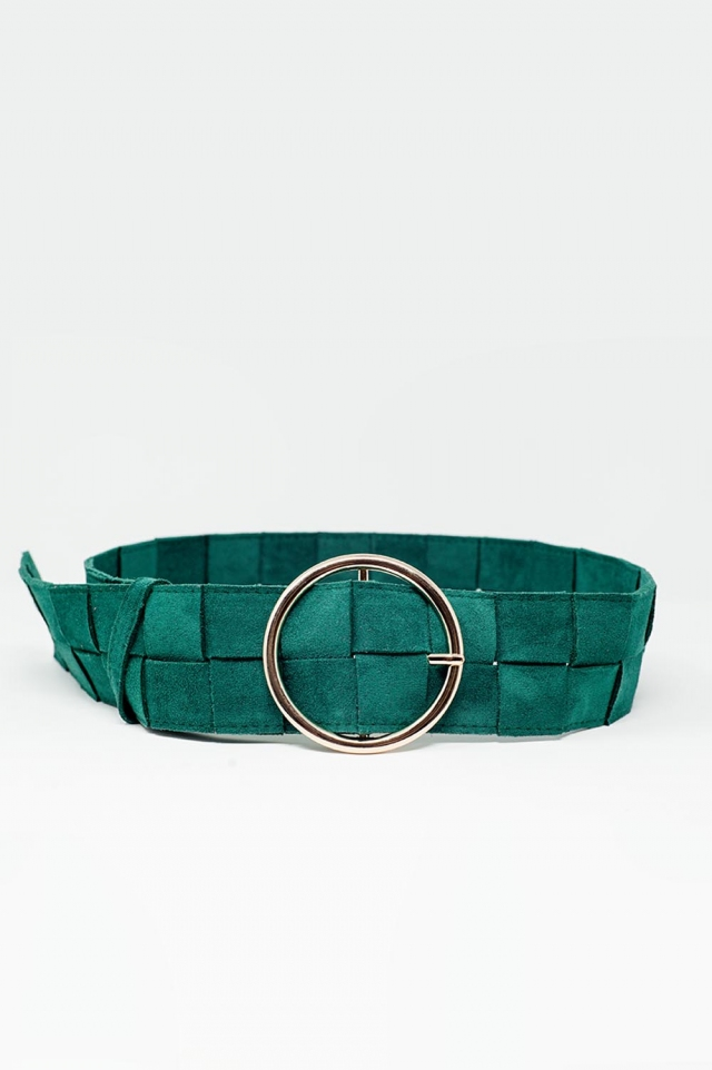 Belt in square weave with twist circle buckle in green
