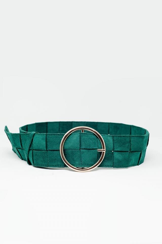 Gürtel aus quadratischem Webstoff mit runder Schnalle in grün