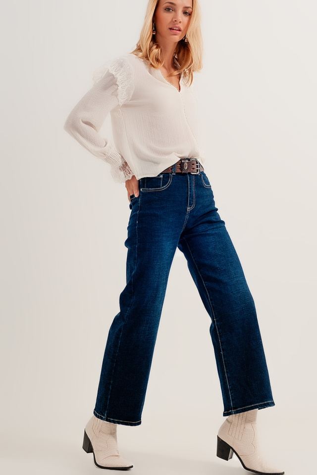 High rise relaxed jeans stretch denim