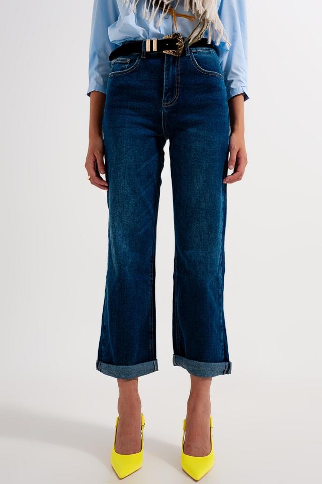 Jeans mit geradem Bein im Stil der 90er in verwaschenem Mittelblau