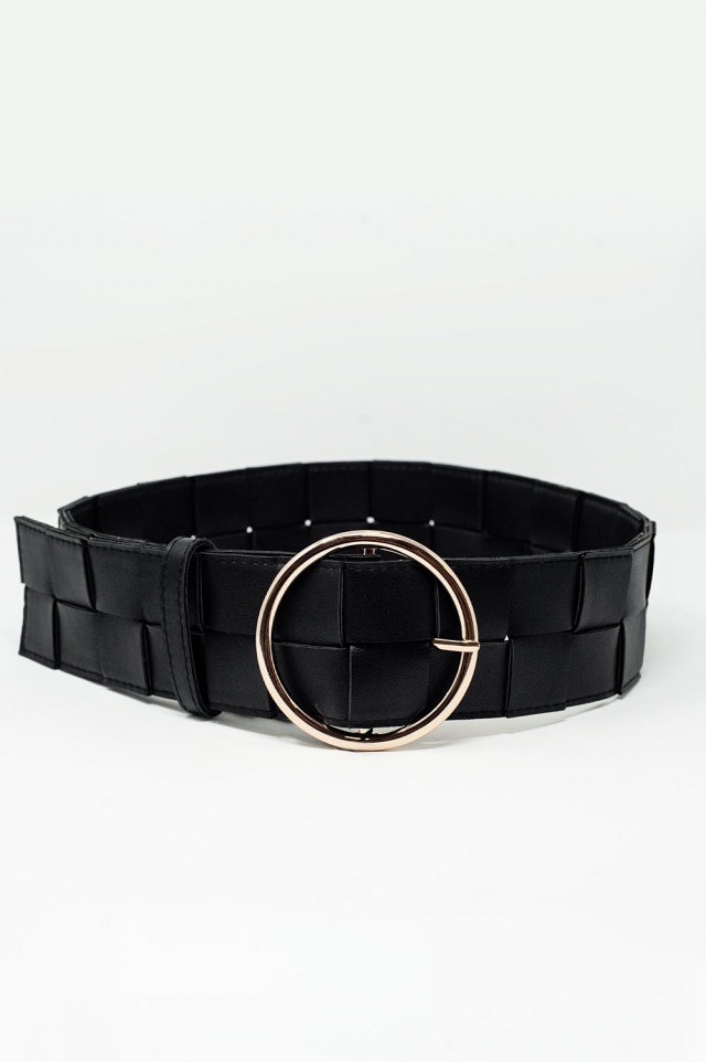 Belt with gold buckle in black