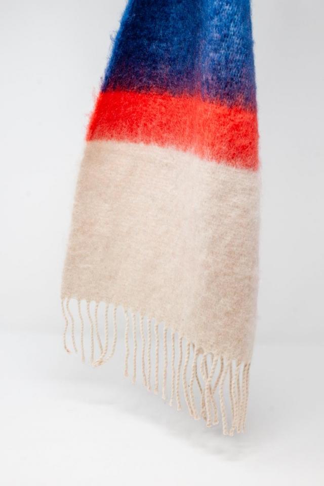 Mehrfarbiger Schal mit Fransen