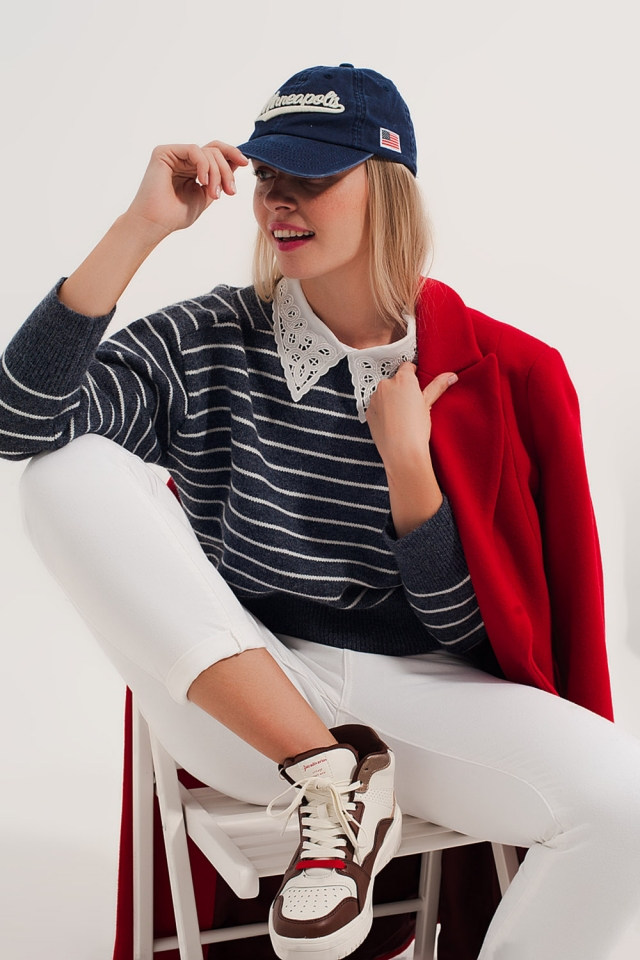 Blue and white striped round neck sweater