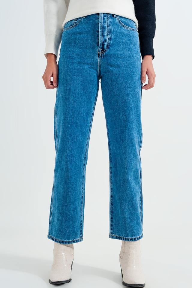 Mom Jeans in Blau mit hohem Bund