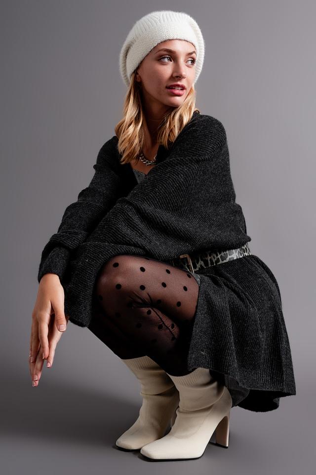 Oversized edge to edge soft cardigan in dark grey