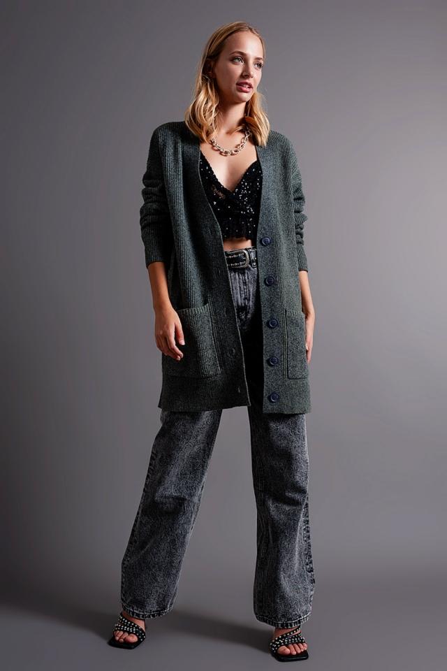 Weiche Longline Strickjacke in grau mit Taschen