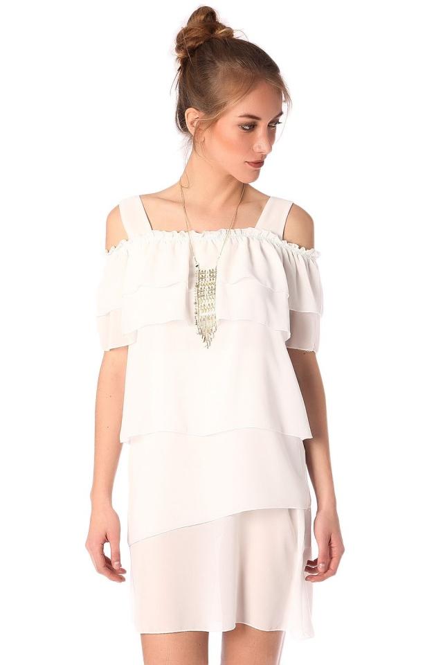 Multi layer mini dress in white