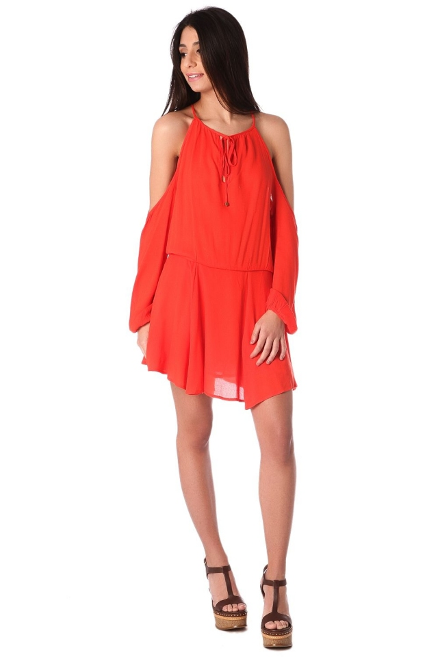 Orange cold shoulder mini dress with keyhole and tie front