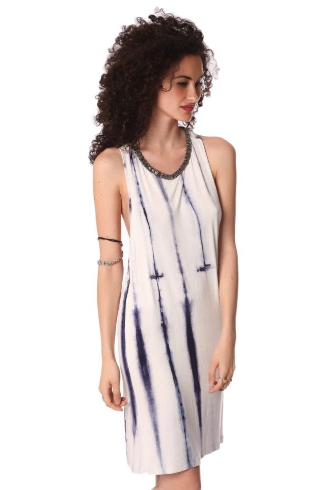 Blue slip dress in tie dye with open back detail