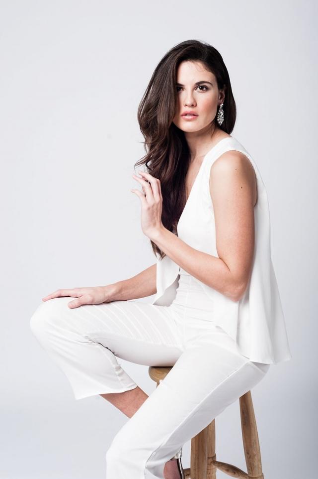 Layered white midi jumpsuit