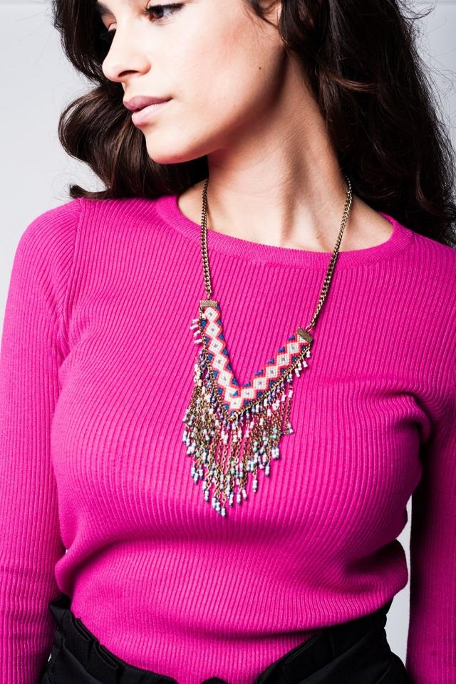 Beaded tassel long necklace
