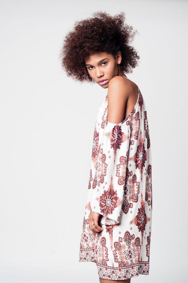 Cream cold shoulder dress with floral print
