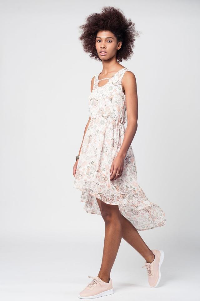 Cream asymetric elastical waist dress with floral print