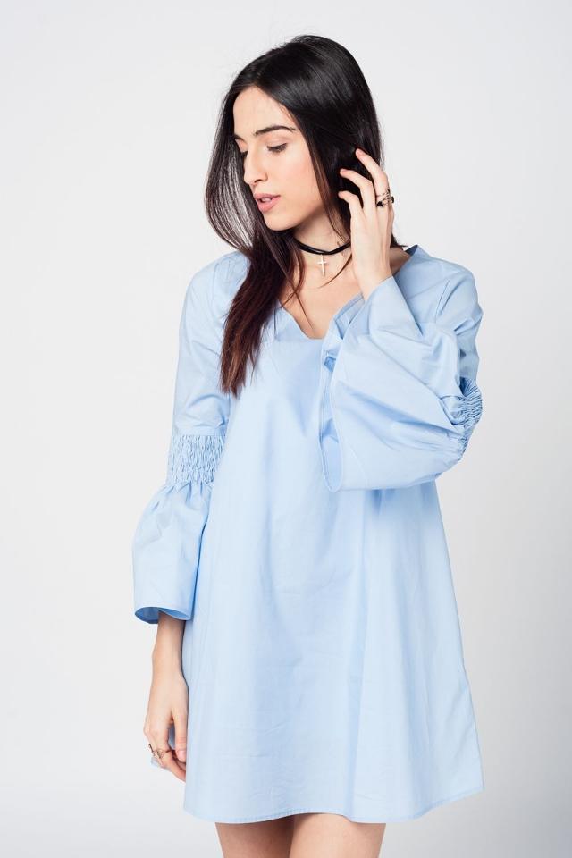 Blue fluted sleeve mini dress