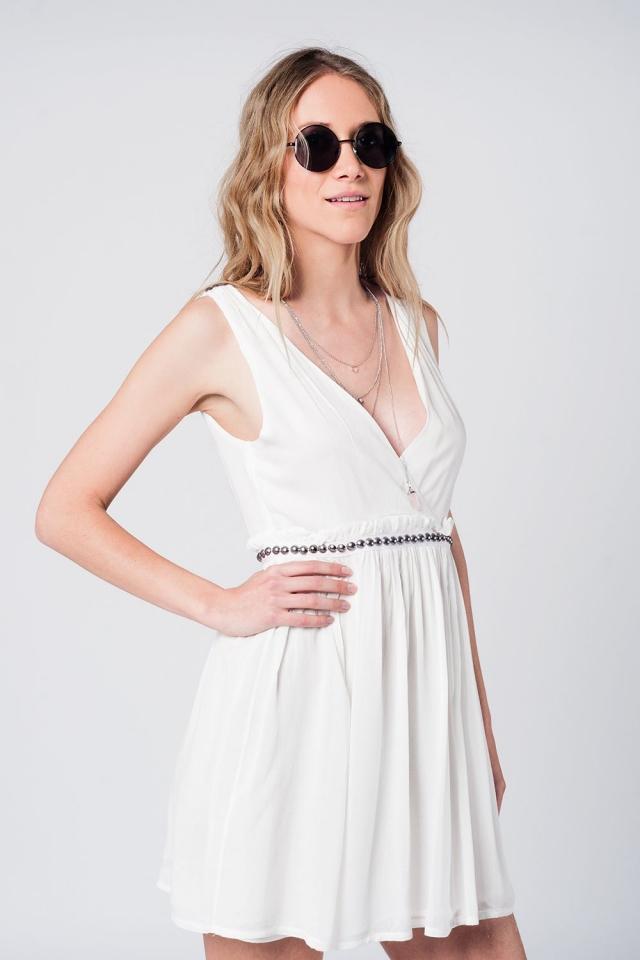 White mini dress with studded waist