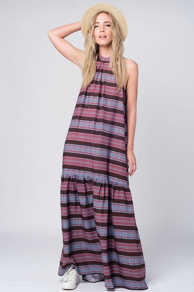 Halter maxi dress in navy print