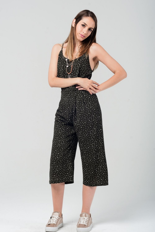 Cropped jumpsuit in green