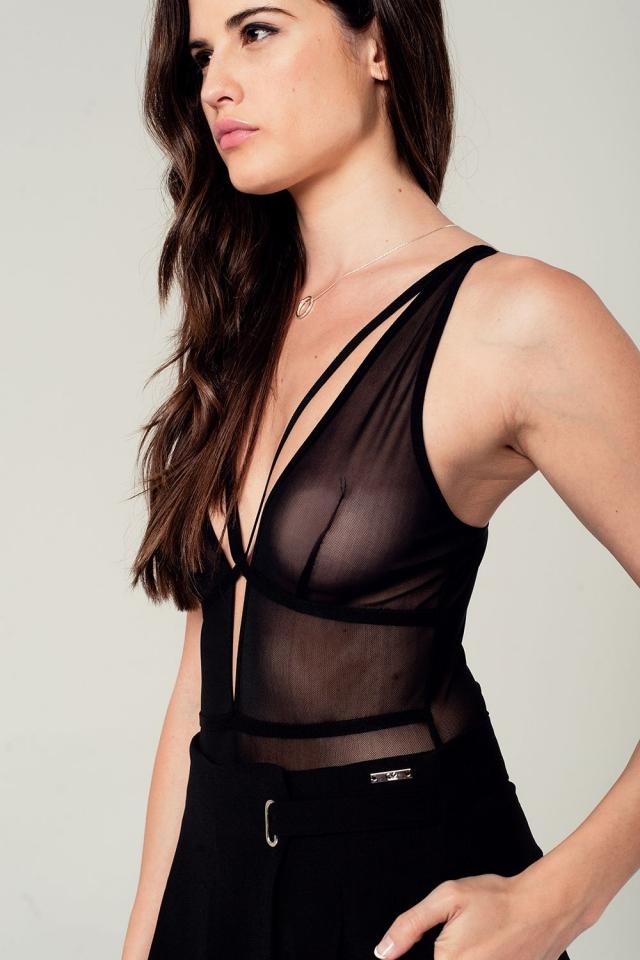 Strappy mesh detail bodysuit in black