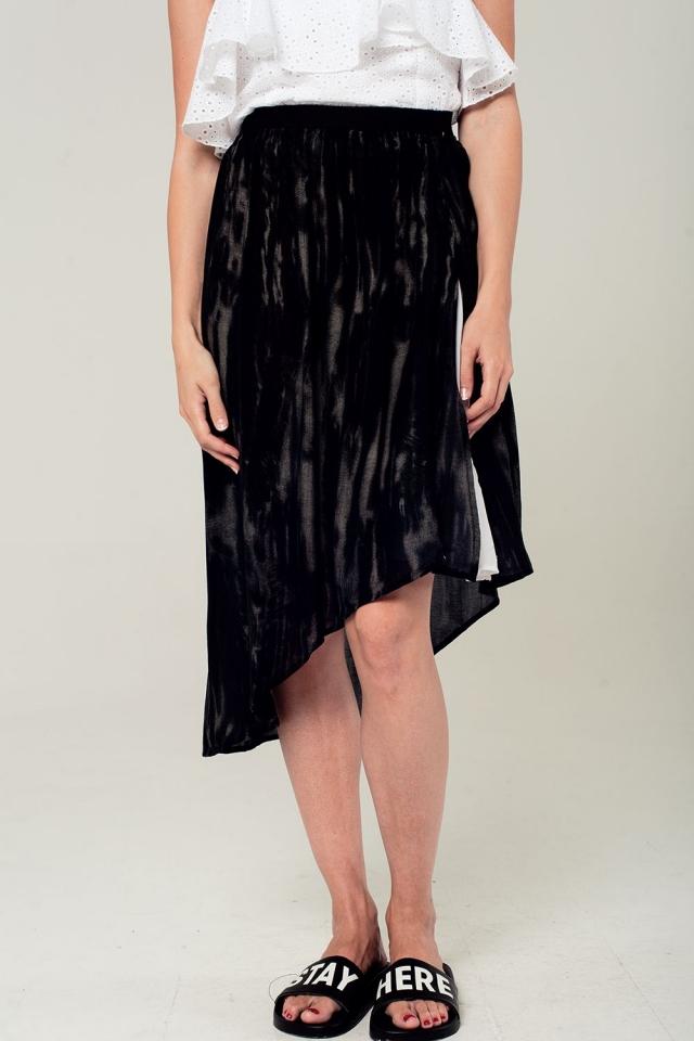 Asymmetric hem skirt in black and gray print