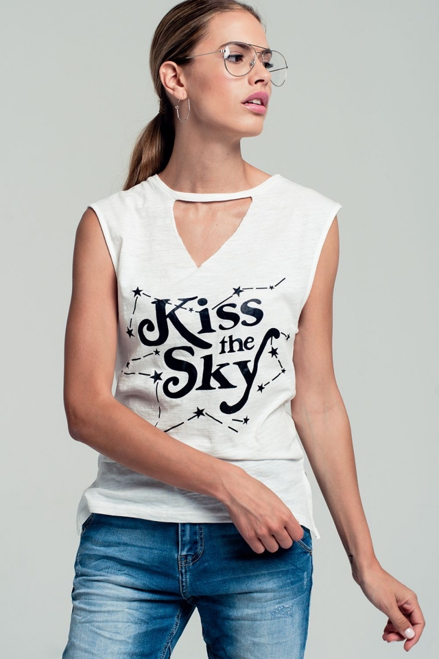 Printed text tank top in white