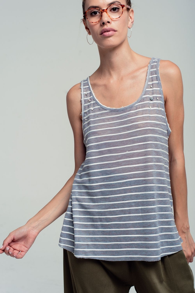 Striped tank top in grey with embellished detailing