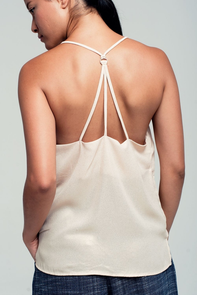 Cami metallic beige top with strappy back detail