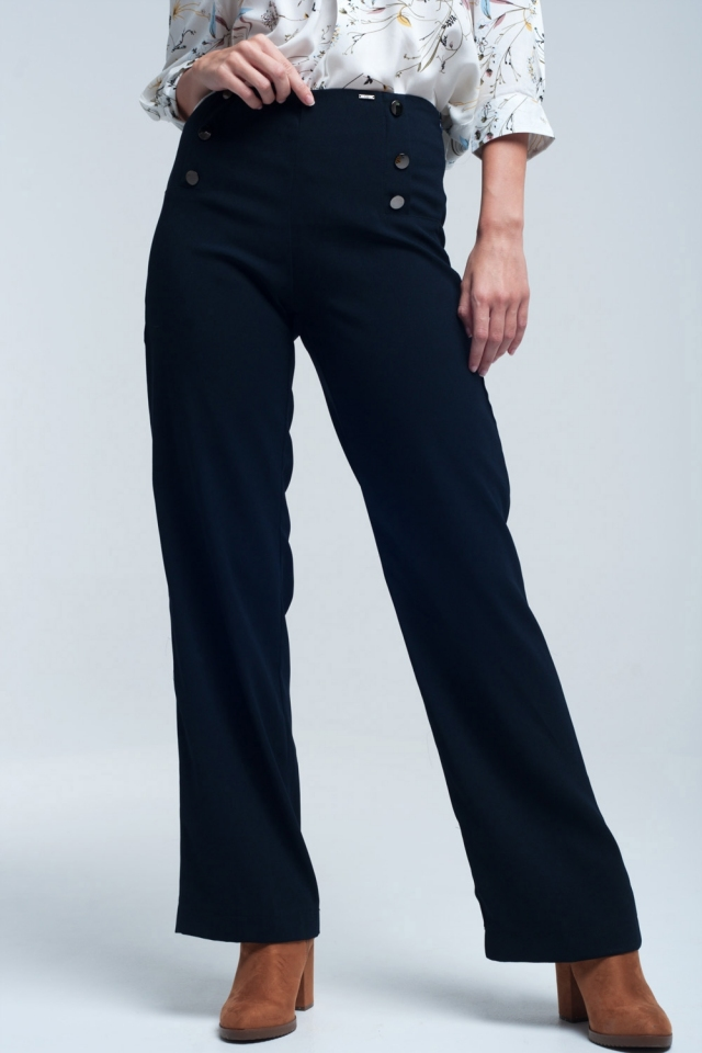 Navy pants with front detail round button style marine
