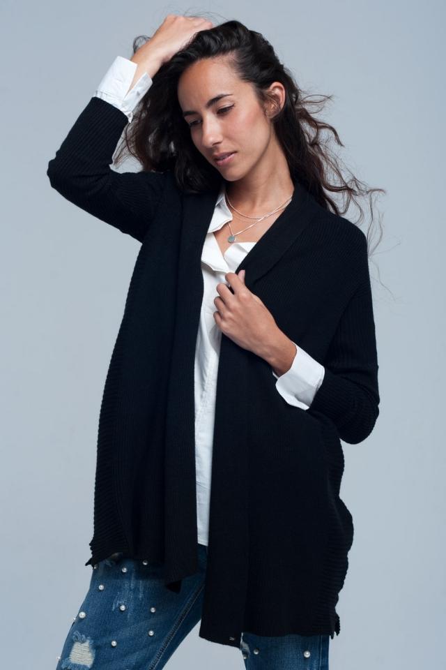 Ribbed oversized cardigan in black
