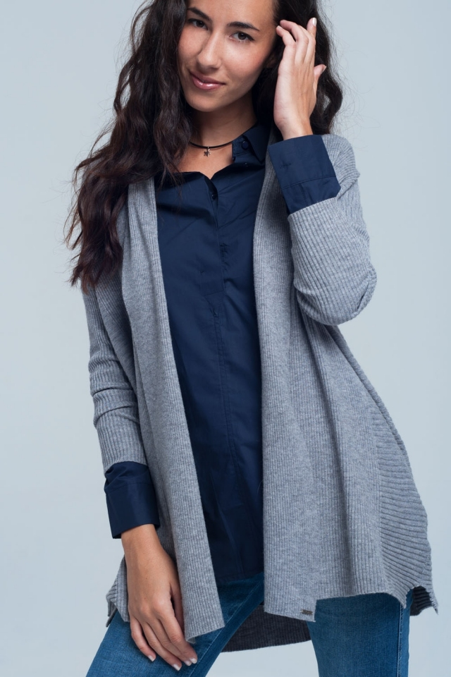 Ribbed oversize cardigan in grey