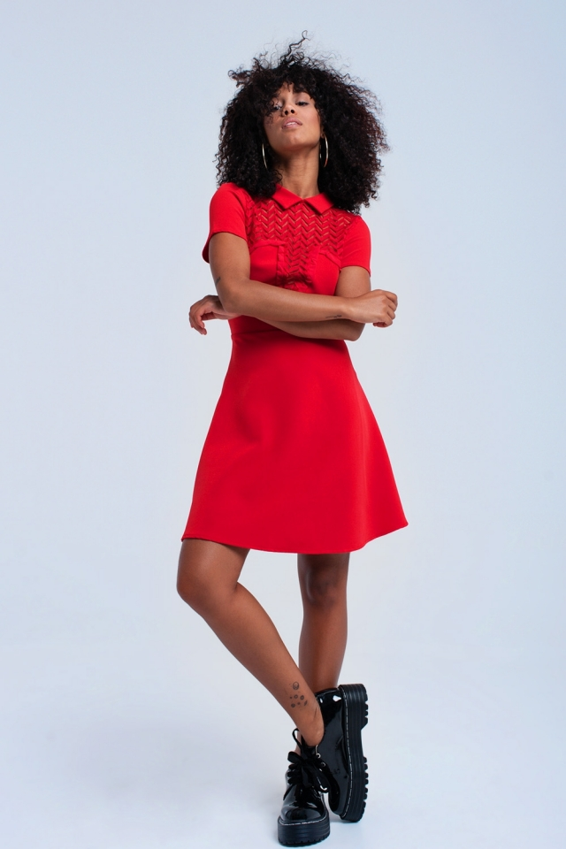 Red mini dress with lace detail