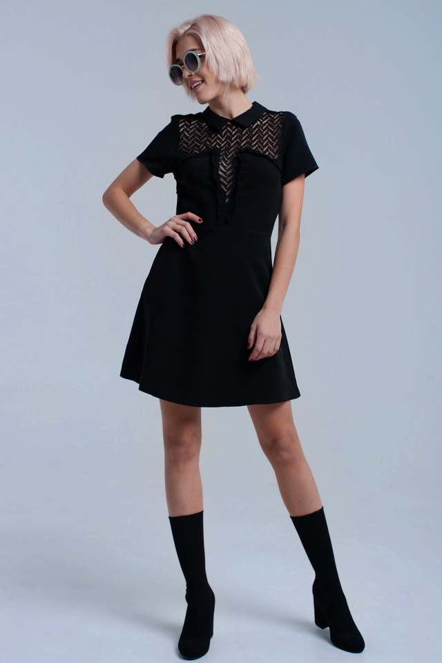 Black mini dress with lace detail