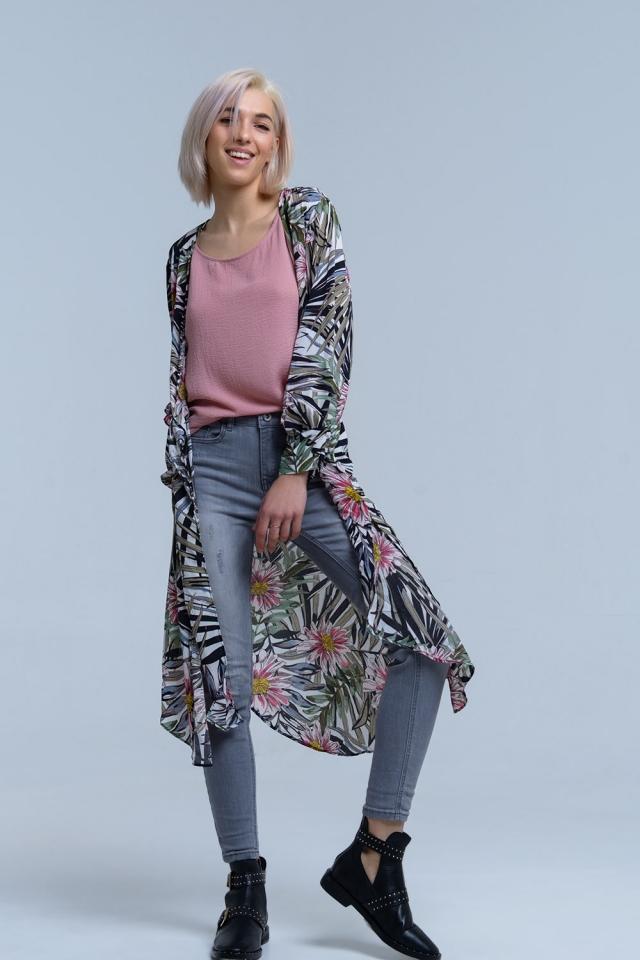 Navy longline floral kimono jacket