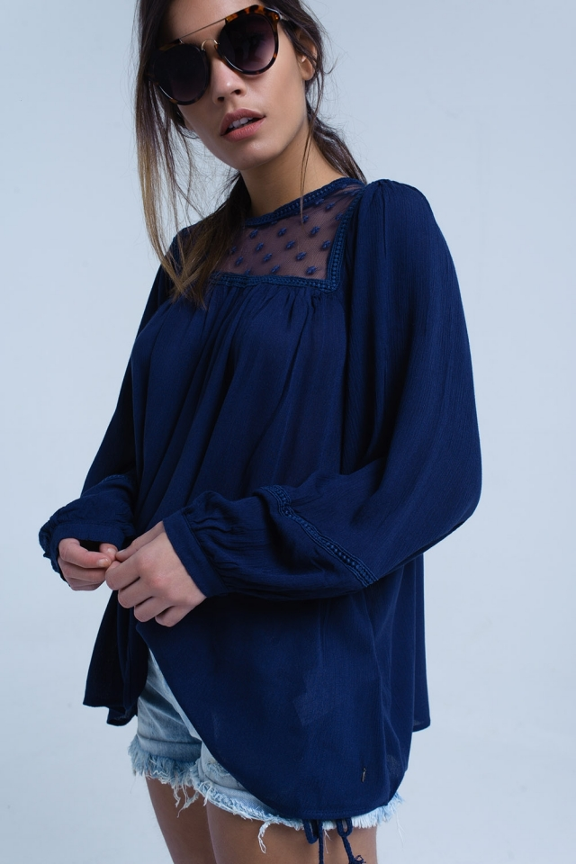 Navy blouse with contrast applique detail